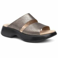 Dansko Lana Nappa Pewter Metallic Leather Double Strap Slide Platform Sandal 36