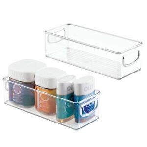 """mDesign Storage Bin Caddy with Handles for Vitamins - 3"""" High, 2 Pack - Clear"""
