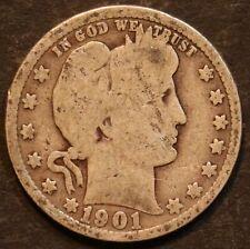 1901 Circulated Barber Quarter