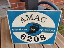 plaque tole vintage AMAC contre le mildiou non emaillée Agriculture Vigne PARIS