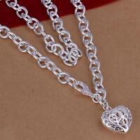 ASAMO Damen Halskette mit Herz Anhänger 925 Sterling Silber plattiert HA1239