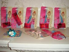 Eight Brand New Bobbypin Hair Accessories Clips Pony Bands Boots Pink Blue