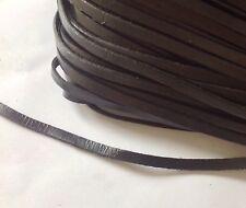Véritable PLAT cordon cuir, dentelle, string NOIR. 5 mm. Royaume-Uni vendeur