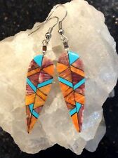 Native American Orange Spiny Oyster and Turquoise Inlay Feather Dangle Earrings
