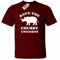 Save The Chubby Unicorns Funny T Shirt rhino gift unicorn Mens Tee
