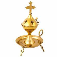 Jerusalem Frankincense Resin Burner Natura Incense Brass Holy Land Copper 7.5 in