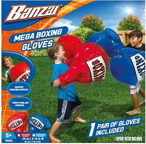 BANZAI 48263 Inflatable Boxing Gloves, Red Blue, Set