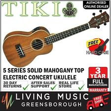 NEW Tiki Solid Mahogany Top Electric Concert Ukulele w Hard Case (Natural Satin)