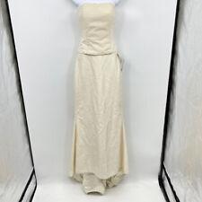Cicada Bridal Wedding Top & Skirt 2-Pc Set Medium Beaded Strapless Lace Up Ivory