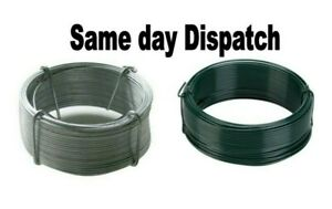 Heavy duty Galvanised / Green PVC garden wire. Fencing. Outdoor. Various lengths