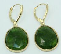 Green Quartz Oval Dangle Earrings,14K Yellow Gold Leverbacks