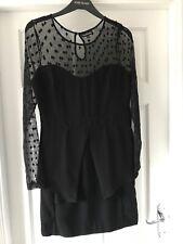 WAREHOUSE 🖤Black Mesh Net Peplum/Origami Waist Fitted wedding Party Dress,UK 12