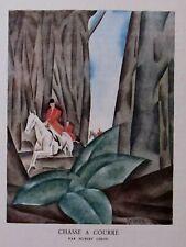 Hubert Giron Chasse à Courre Lithographie Gazette Bon Ton édition originale 1924