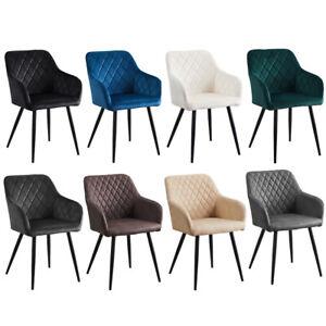 2 Stück Esszimmerstühle Sessel PU / Samt Küche Esszimmer Restaurant Büro