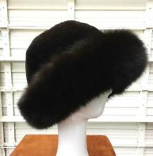 "HAT Genuine Sheared Beaver & Fox Trim Fur Handmade USA Sz 23.5"" Unisex New A+++"