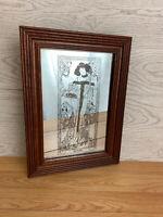 Vintage Alphonse Mucha Art Nouveau Style Mirror Autumn Hard Wood Frame