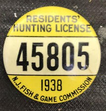 Vintage 1938 NJ fishing license badge, Pin