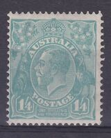 G5) Australia 1932 1/4d Turquoise KGV, C of A wmk