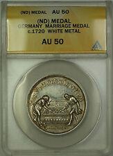 No Date (Circa 1720) Germany Marriage Medal White Metal ANACS AU-50