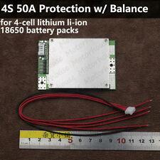 16V 4S Li-ion Lithium Cell 50A 18650 Battery Protection BMS PCB Board Balance HQ