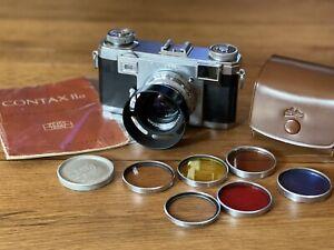 Contax Zeiss Ikon IIa Color Dial CLA'd Zeiss Sonnar 50mm Lens Hood Filter Case +