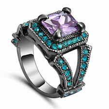 Fashion Size 8 Amethyst&blue Halo Wedding 18KT Black Gold Filled Womens Rings