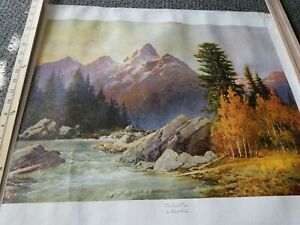"""""""The Grand Teton"""" by Robert Wood, Vintage 1956 Canvas Lithograph Print large"""