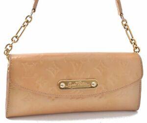 Authentic Louis Vuitton Vernis Sunset Blue Bird Shoulder Bag Beige LV C9382
