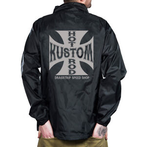 Dragstrip Clothing Water resistant Coach Jacket Iron Cross Hot Rod Jacket
