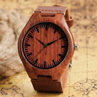 Casual Bamboo Nature Wooden Genuine Leather Band Analog Quartz Men Wrist Watch