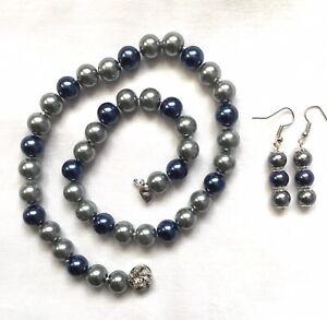 Silver / Navy Blue, AKOYA Sea Shell Pearl Necklace +Earrings Set.  UK