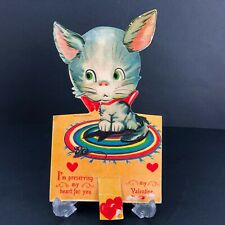 Vtg Antique Mechanical Cat Mouse Valentines Card Germany German 20s 30s Kitty