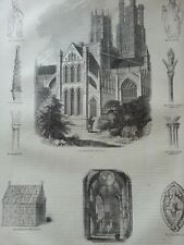 ANTIQUE PRINT C1860'S ELY CATHEDRAL RELIGIOUS ARCHITECTURE ENGRAVING ART
