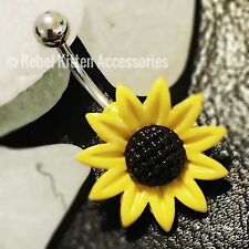 14g Yellow Flower Navel Belly Button Ring Piercing Body Jewelry Sunflower