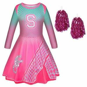 Girls Disney Zombies 2 Cosplay Costume Cheerleader Outfit Kids Fancy Dress Party