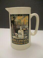 Ceramic Pub Pitcher, liquor Advertizing Holloway London Gin, England