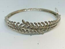 solid 925 silver and cubic Zirconia leaf bangle bracelet scrap or wear