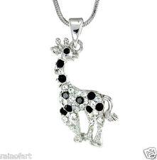 "GIRAFFE W Swarovski Crystal Baby Animal Safari Black Gift 18"" Chain  Necklace"