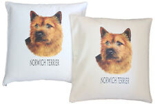 More details for norwich terrier breed of dog h cotton cushion cover - cream or white - gift item