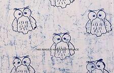 Owl Print Cotton Fabric Block Printed Dressmaking Sewing Fabric 44'' By 2.5 Yard