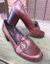 Womens Personal Identity Size 9M Brown Leather Monk Strap Pumps Heels SlipOn-147