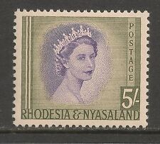 Rhodesia & Nyasaland #153 VF MINT VLH - 1954 5sh Queen Elizabeth II