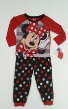 Minnie Mouse Girls Pajama Set size 4 Disney Long Sleeve, Fleece bottoms NWT