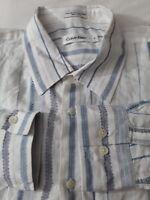 CALVIN KLEIN Men's Casual Shirt Size XL Light Blue Stripe Long Sleeve Linen