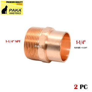 "1-1/4"""" C x 1-1/4"" Male NPT Threaded Copper Adapters (2 PCS )"