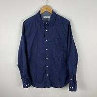 Nautica Mens Button Up Shirt Large Blue Red Long Sleeve Collared