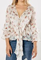 Womens Cream Romantic Frill Floral Print Blouse Top NEW UK Sizes 8 10 12 14