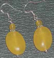 "Oval Yellow Jade Dangle Silver Plated Earrings 1 3.4"" lemon drops 4 the ears!"