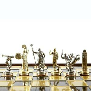 Manopoulos Discus Thrower Chess Set - Brass Nickel Pawns - Brown Board