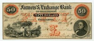 1859 $50 The Farmers' & Exchange Bank - Charleston, SOUTH CAROLINA Note